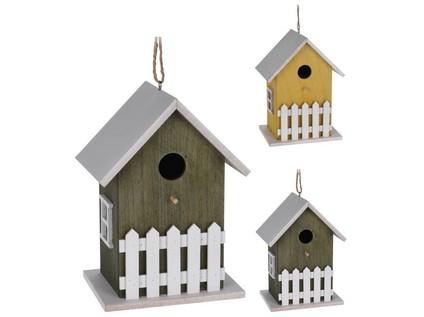budka ptačí zahnizďovací 12x16x23cm dřevěná mix barev