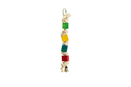 Karlie Hračka pro ptáky dřevěná barevná se zvonečkem 20cm