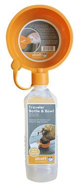Alcott Cestovní láhev oranžová s miskou 470 ml