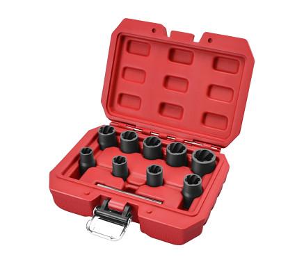 hlavice na uvolňování šroubů a matic, sada 10ks, 3/8', 10-19mm, CrMoV