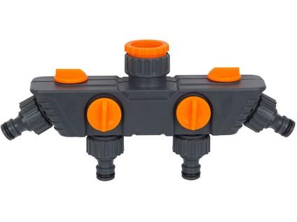 adaptér na kohoutek-rozdělovač 4cestný 1/2' + 3/4' + 1'